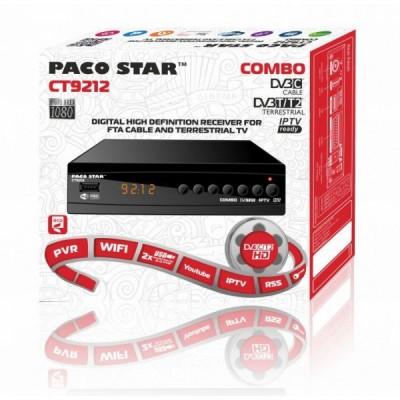 PACO STAR CT9212 Комбиниран HD Кабелен И Ефирен DVB-C, DVB-T/T2, IPTV Приемник